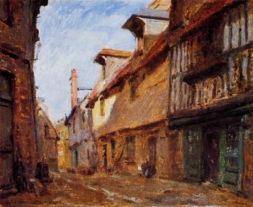 Adolphe-Félix Cals, 1864, La rue de la Vielle Halle à Saint-Valery-en-Caux, 22x28, A1999/03/20 (iR13)