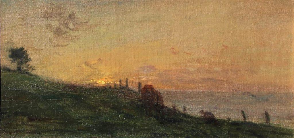 Adolphe-Félix Cals, 4IE-1879-33, Soleil couchant. Maybe?: 1875, Soleil couchant sur la falaise; Honfleur, 16x33, xx (iR10;iR41;R2,p267). Compare: 2IE-1876-25.