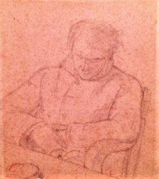 Adolphe-Félix Cals, 18xx, Portrait de son père assoupi, dr, 14x12, Axx (iR10) Doria collection.