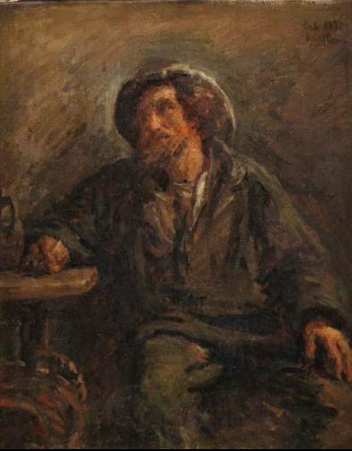 Adolphe-Félix Cals, 1IE-1874-38, Vieux pêcheur. Compare: Cals, 1872, Le vieux pêcheur (study), 40x33, xx (iR10;R2,p120;R90II,p6+21)