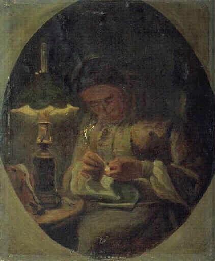 Adolphe-Félix Cals, 1IE-1874-40, bonne femme tricotant. Compare: Cals, 18xx, Femme cousant (Woman sewing), 42x35, MBA Bordeaux (iR23;R2,p120;R90II,p6)