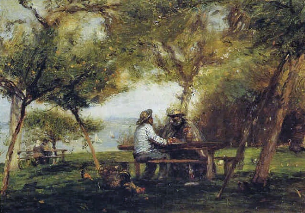 Adolphe-Félix Cals, 2IE-1876-26, Ferme de Saint-Siméon, printemps. Compare: 1877, Les marins à Saint-Siméon, 42x58, A2001/03/28 (iR13;iR6;iR35;R2,p161)