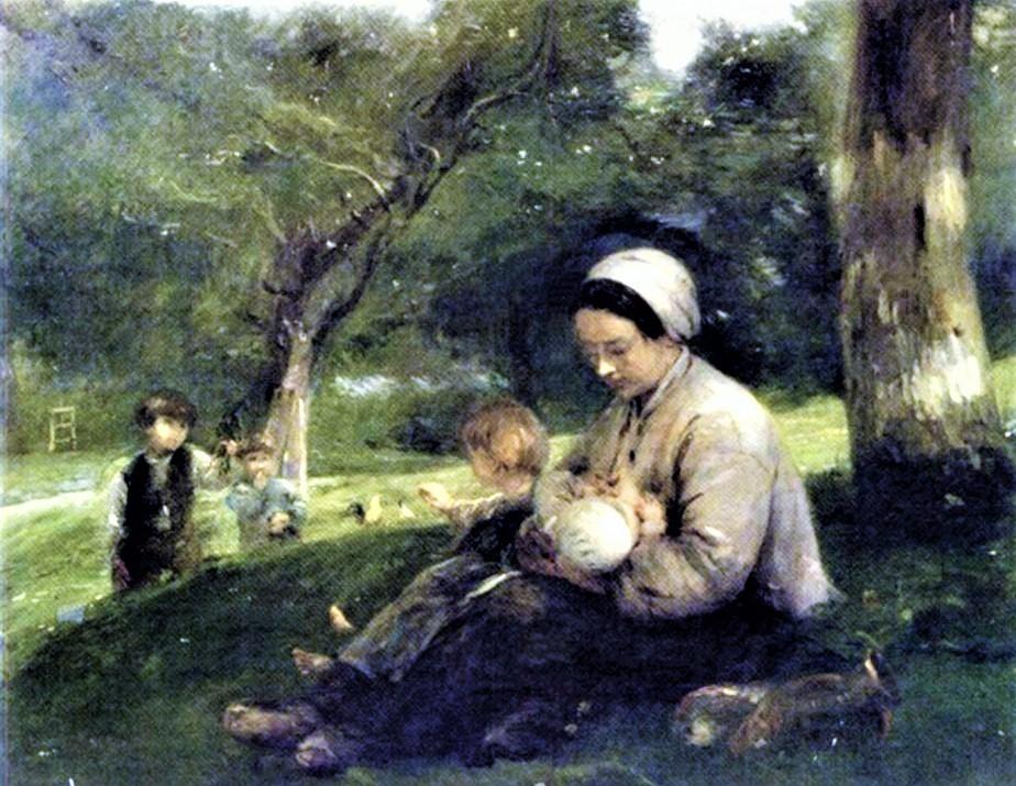Adolphe-Félix Cals, 2IE-1876-29, Femme allaitant son enfants. Uncertain: 1877, Mère et ses enfants au Saint-Siméon (the loving mother), 131x161, A2005/02/15 (iR13;iR17;R2,p161;R90II,p34)