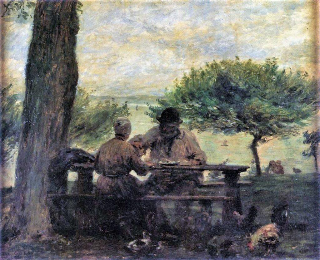 Adolphe-Félix Cals, 2IE-1876-30, A la ferme de Saint-Siméon. Compare: 1875, Le déjeuner à Honfleur (côte de Grâce), 45x54, MEB Honfleur / Orsay (iRx;iR23;iR127;R3,p124;R2,p161;R90II,p334;R88I,p96) Collection Henri Rouart.(?)
