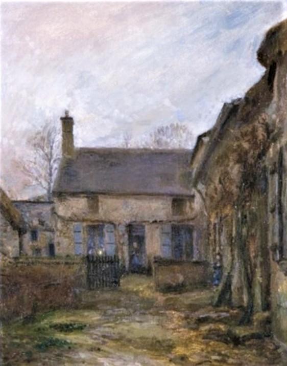 Adolphe-Félix Cals, 2IE-1876-31, Cour à Honfleur. Compare: 1865, Cour de ferme à Honfleur, 41x33, A2010/02/19 (iR13;iR11;R2,p161;R90II,p34)