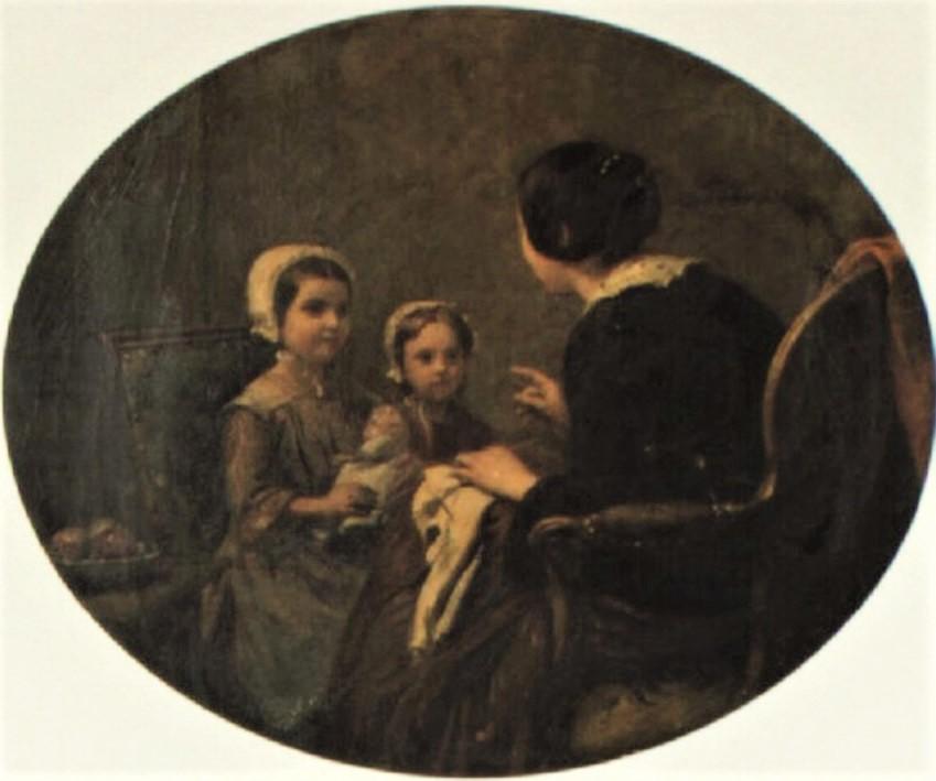 Adolphe-Félix Cals, 2IE-1876-32, La Leçon. Very uncertain: 1855, Les conseils maternels, 46x56, A1995/05/24 (iR13;R2,p161)