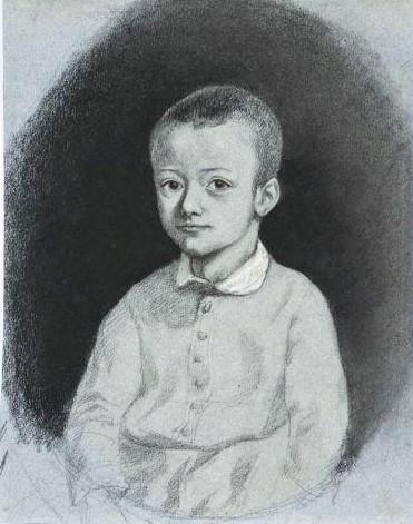 Adolphe-Félix Cals, 2IE-1876-34, Les enfants du pêcheur (dessin). Compare: 18xx, Portrait de jeune garçon, dr, 62x25, A2011/10/10 (iR11;R2,p161)