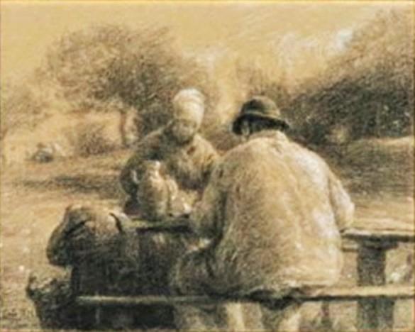 Adolphe-Félix Cals, 2IE-1876-35, le repas frugal (dessin). Probably: 1875, repas frugal à Saint-Siméon (meager meal at Saint-Siméon), dr, 19x24, A2012/12/16 (iR13;R2,p161)