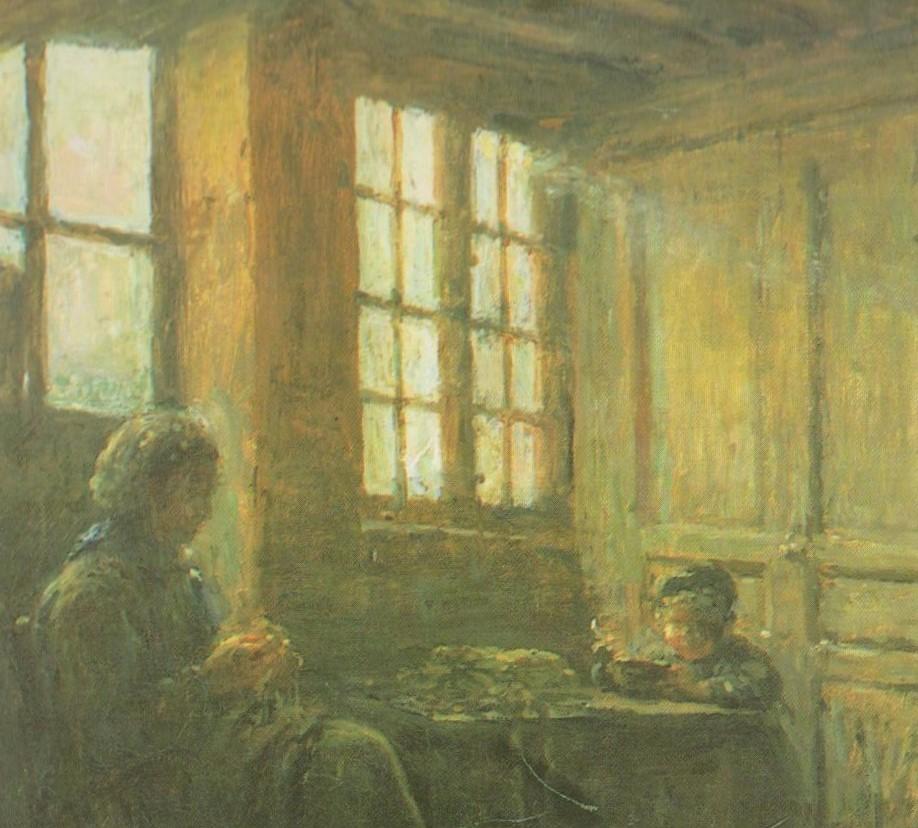 Adolphe-Félix Cals, 3IE-1877-11, femmes effilant de l'étoupe. Now: 1877, Women Fraying Linen (cotton workers; effilleuses d'étoupe; detail), Honfleur, 51x62, Orsay (R16,p19;iR39;iR23;iRx;R90II,p70+86;R2,p204;aR2,p210)