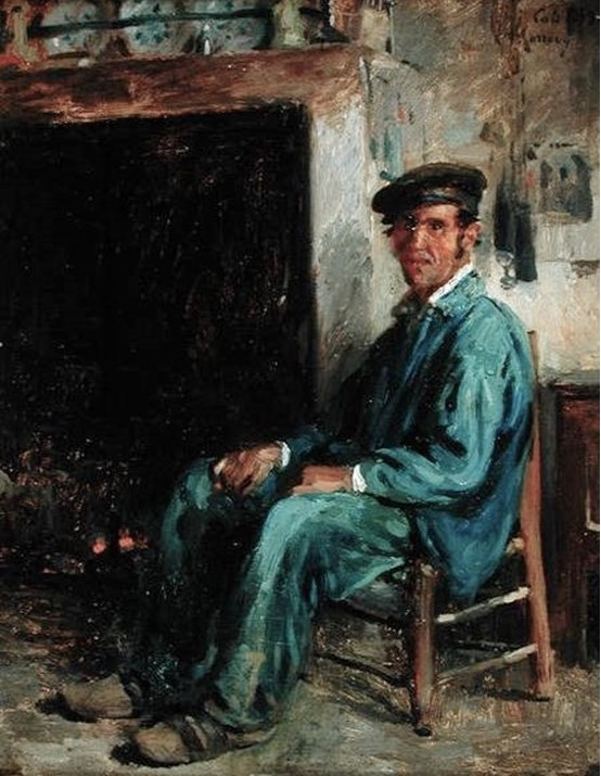 Adolphe-Félix Cals, 3IE-1877-12, Le coin du feu. Uncertain: 1859, A Peasant in Front of a Hearth, 28x36, Cherbourg MATH (iR39;iR10;R2,p203;R90II,p70). Compare: IE-1879-44, Le coin du feu (dessin).