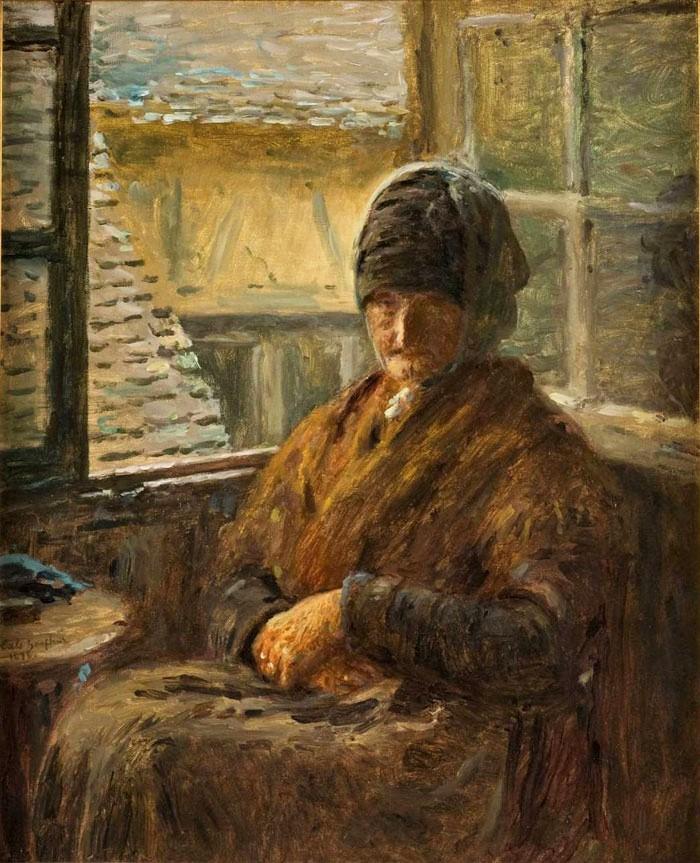 Adolphe-Félix Cals, 3IE-1877-13, La mère Doudoux. Now: 1876, La mère Boudoux à sa fenêtre, 61x49, DGG Memphis (iR10;iR98;R2,p21;R90II,p70+86). Compare: 4IE-1879-45, La mère Doudoux (dessin).