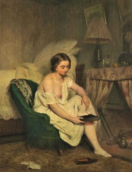 Adolphe-Félix Cals, 3IE-1877-16, Jeune femme, le matin. Very uncertain: 1857, Le lever (Scène d'intérieur), 41x32, A2015/12/09 (iR11;R45,p68;R2,p203;R90II,p70). Compare: S1857-426 'Le lever'.