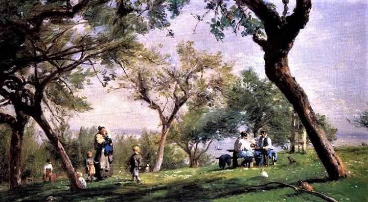 Adolphe-Félix Cals, 3IE-1877-8, Paysage à Saint-Siméon. Probably: 1876, Landscape with figures (at Saint-Siméon), 37x63, Philadelphia MA (iRx;iR59;R2,p212;R90II,p70+86;R175,no9)