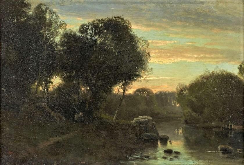 Adolphe-Félix Cals, 4IE-1879-33, Soleil couchant. Very uncertain: 18xx, Fagoteuse au bord d'une rivière, 17x25, A2018/09/25 (iR11;R2,p356;R90I,p354)