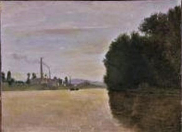 Adolphe-Félix Cals, 4IE-1879-35, bassin à Honfleur. Uncertain: 18xx, Vue d'une fleuve bordé d'une manufacture (View of a river bordered by a factory), 19x25, A2010/02/19 (iR11;R2,p287)