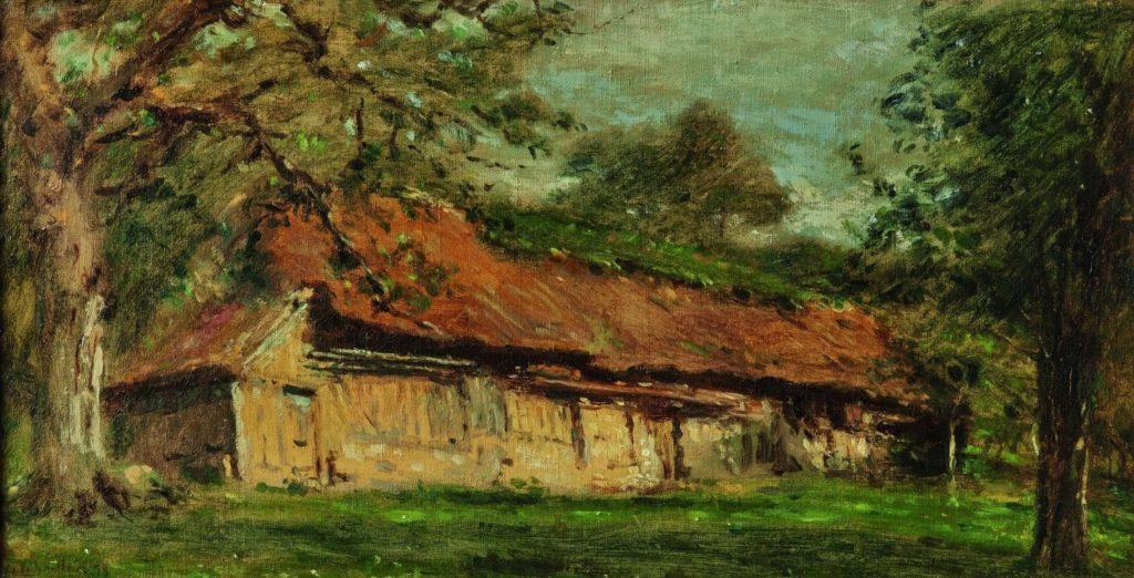 Adolphe-Félix Cals, 4IE-1879-36, Ferme du Butin, Honfleur, Matinée de juin. Maybe: 1879, La ferme du Butin à Honfleur, 18x34, A2018/12/12 (iR11;R2,p267)