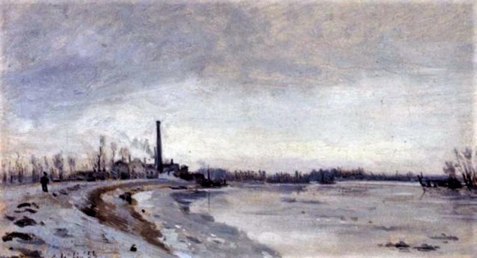 Adolphe-Félix Cals, 4IE-1879-37, Effet de neige, Honfleur. Maybe?: 1855, Bord de rivière en hiver, xx, xx (iR6;iR13;R2,p267).