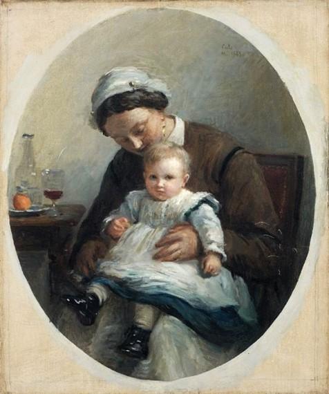Adolphe-Félix Cals, 4IE-1879-39, Jeune femme avec son petit enfant. Compare: 18xx, Nourrice tenant un enfant sur ses genoux, 65x54, A2017/03/22 (iR11;R2,p267;R90II,p108)