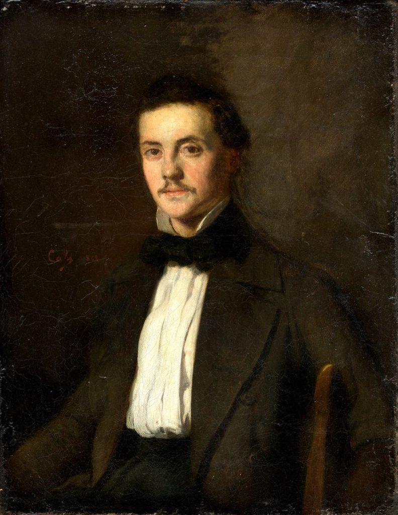 Adolphe-Félix Cals, 4IE-1879-40, Portrait de M. M... Maybe: 1858, Un portrait d homme en redingote assis sur une chaise (Charles Meryon?), 35x28, xx (iR10;R2,p267)