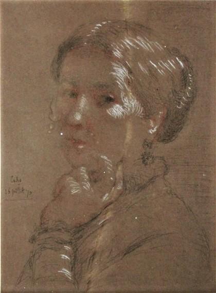 Adolphe-Félix Cals, 4IE-1879-41, Portrait de Mme A.R..., dessin. Very uncertain: 1870/07/16 (?), portrait of a woman, dr pastel, 40x29, A2013/06/08 (iR11;iR13;iR17;R2,p287)