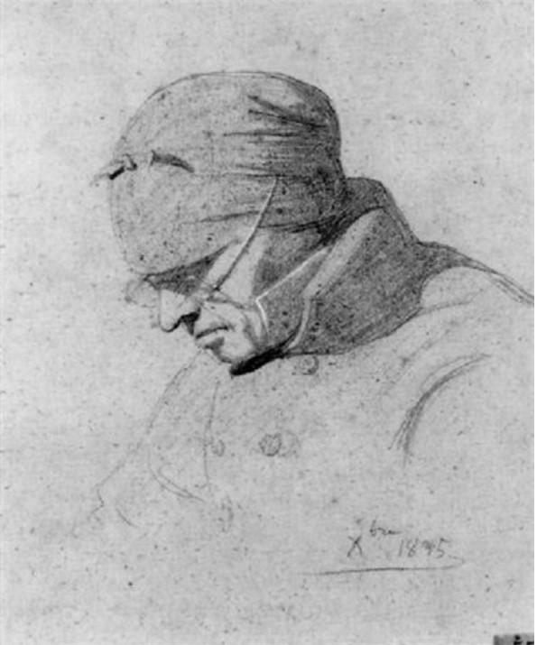 Adolphe-Félix Cals, S1835-305, Portrait de femme. Compare: 1835, Paysanne, dr, 22x19, A1999/10/27 (iR13;iR1)