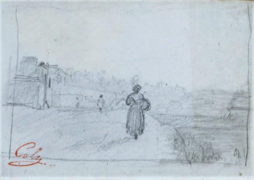 Adolphe-Félix Cals, S1837-263, Le retour des champs. Compare: 18xx, Paysanne sur le chemin, dr, 8x11, Axx (iR10;iR1)