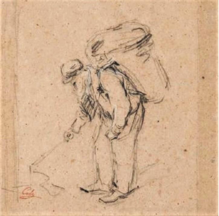 Adolphe-Félix Cals, S1838-231, Un mendiant. Compare: 18xx, Paysan, dr, 21x21, A2018/12/19 (iR12;iR10;iR1)