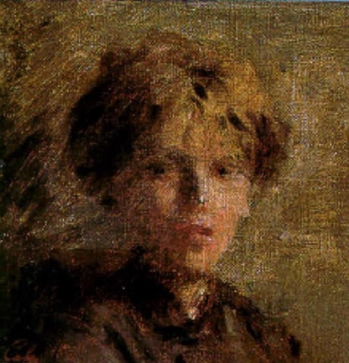 Adolphe-Félix Cals, S1844-257, Tête de jeune fille. Uncertain: 18xx, Portrait d'une jeune fille, 14x14, A1999/06/05 (iR13;iR10;iR1)