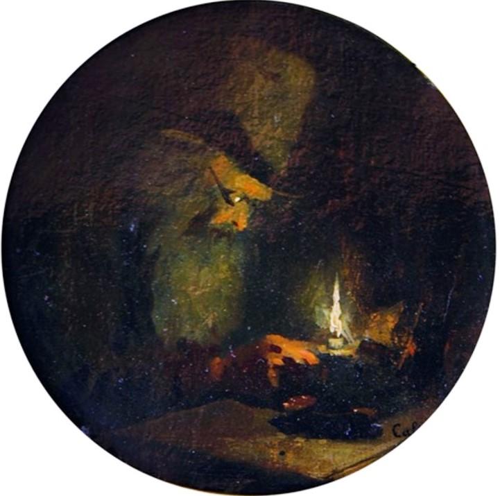 Adolphe-Félix Cals, S1845-250, Souterrain, effet de lampe. Uncertain: 18xx, Vieil homme à la chandelle, 18x18, A2012/05/27 (iR13;iR1)