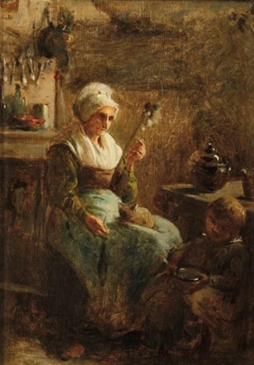 Adolphe-Félix Cals, S1846-291, Bonne femme filant. Uncertain: 18xx, La fileuse et son enfant, 37x26, A2015/11/22 (iR13;iR1) Compare: 1IE-1874-7.
