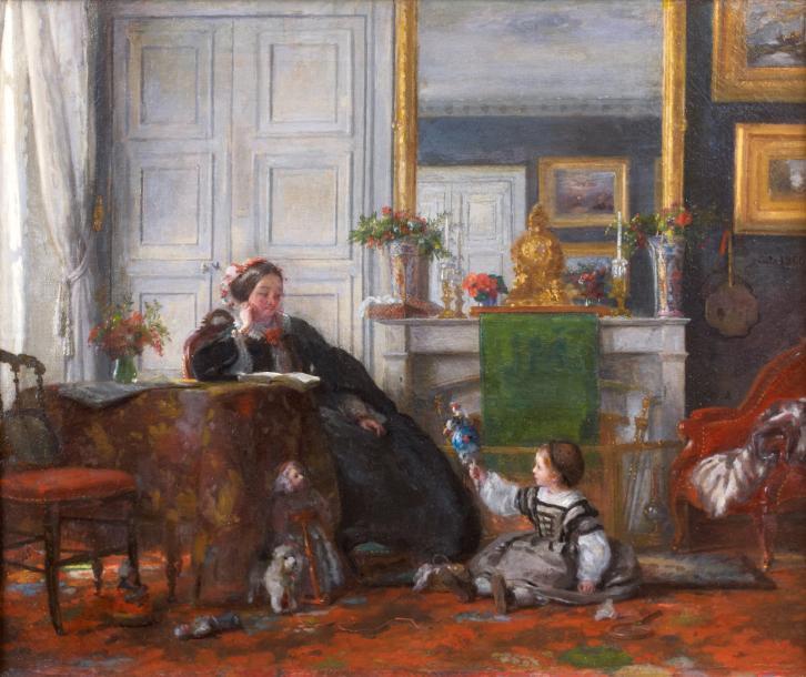 Adolphe-Félix Cals, S1846-293, Sollicitude maternelle. Compare: 1860, Mère et enfant dans un intérieur, 38x46, xx (iR10;iR1)