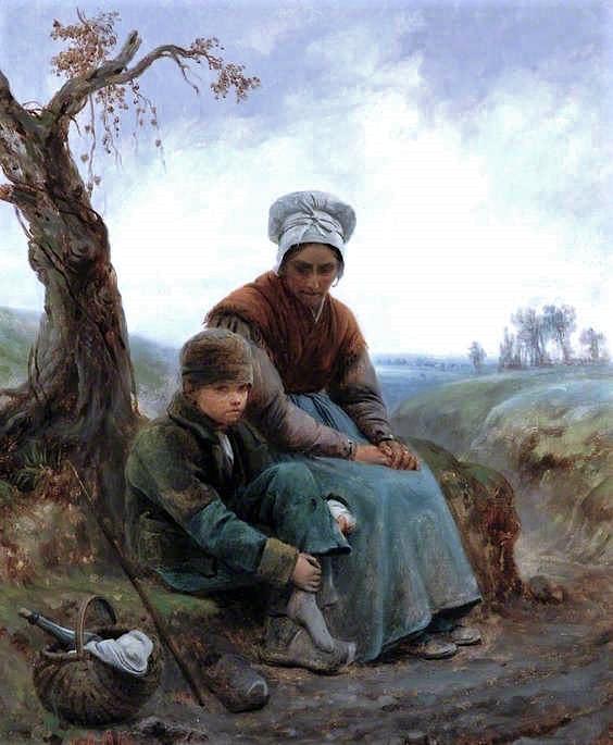 Adolphe-Félix Cals, S1846-298, Bonne femme d'Auvergne. Uncertain: 1846, Peasant Woman and Child, 46x38, BM Barnard Castle (iR2;iR35;iR1)