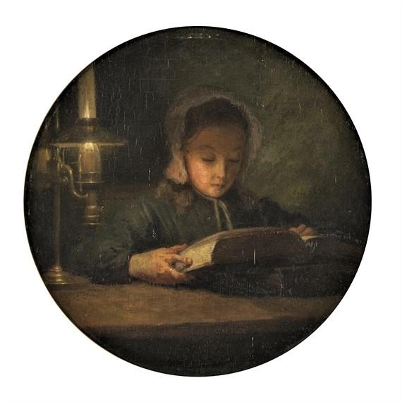Adolphe-Félix Cals, S1848-722, Petite fille lisant. Uncertain: 18xx, petite file lisant à la chandelle, 30x29, A2017/06/15 (iR11;iR1)
