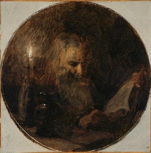 Adolphe-Félix Cals, S1848-725, Vieillard lisant. Uncertain: 18xx, La Lecture à la chandelle, 21x21, MBA Dijon (iR23;iR1)