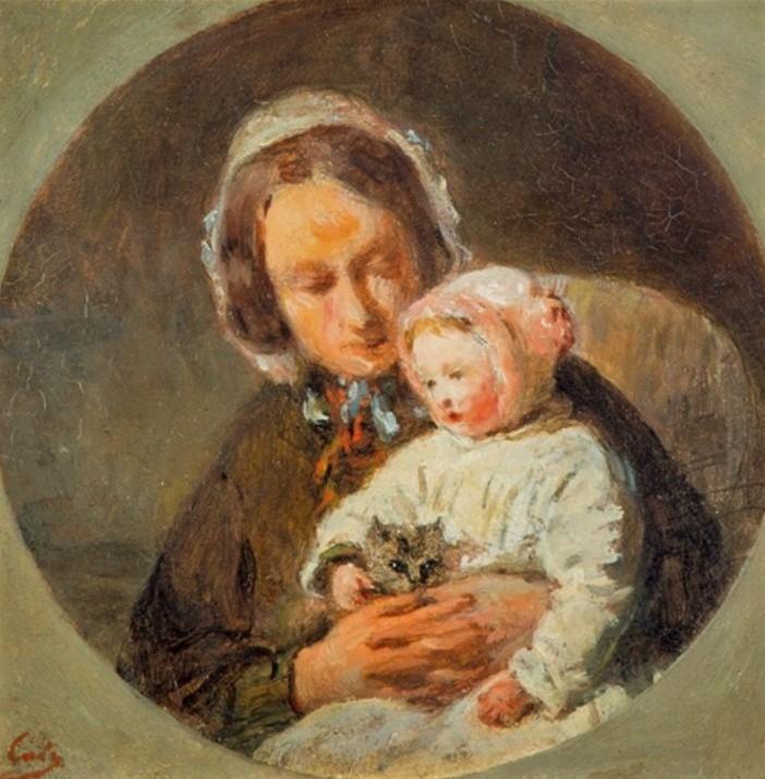 Adolphe-Félix Cals, S1850- 440, Portrait de Mme D. R... et de son enfant. Uncertain: 18xx, Mère avec son enfant et un chat, 19x19, A2016/05/25 (iR13;iR11;iR1). Compare: 3IE-1877-9.