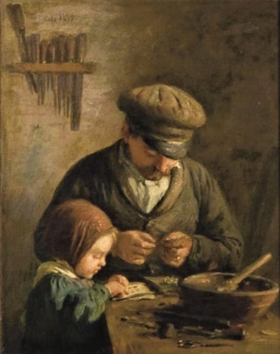 Adolphe-Félix Cals, S1853-203, Un amateur. Compare: Cals, 1859, Le raccommodeur de porte-monnaie (Père et fillette dans un atelier), 28x23, A2008/04/23 (iR13;iR1)