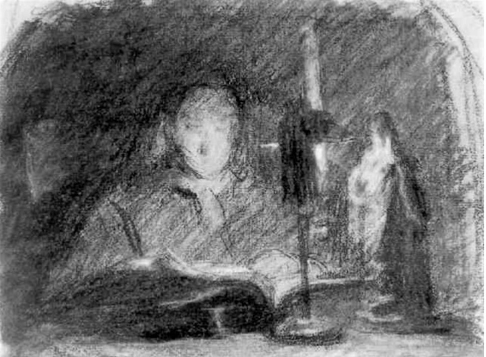 Adolphe-Félix Cals, S1853-204, Tête de jeune femme, étude à la lampe. Compare: 18xx, Femme assise à un bureau, lisant à la lueur d'une chandelle, dr, 17x22, A1999/10/27 (iR13;iR1)