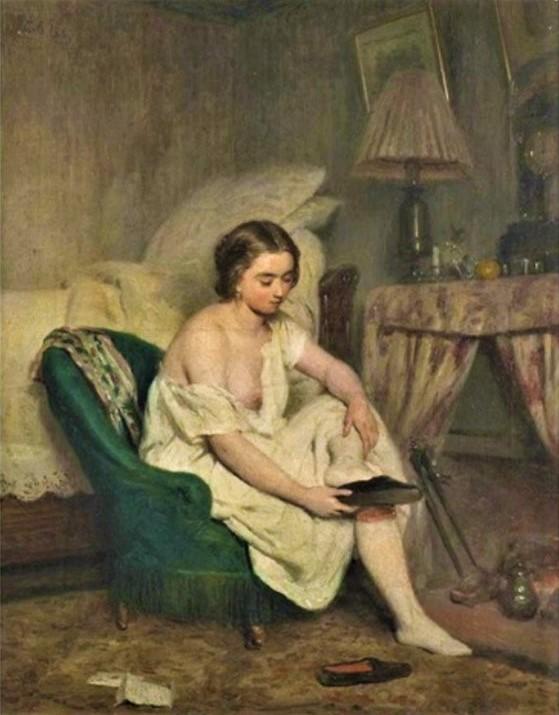 Adolphe-Félix Cals, S1857-426, Le lever. Maybe: 1857, Le lever (scène d'intérieur), 41x32, A2015/12/09 (iR13;iR11;iR1;R45,p68).