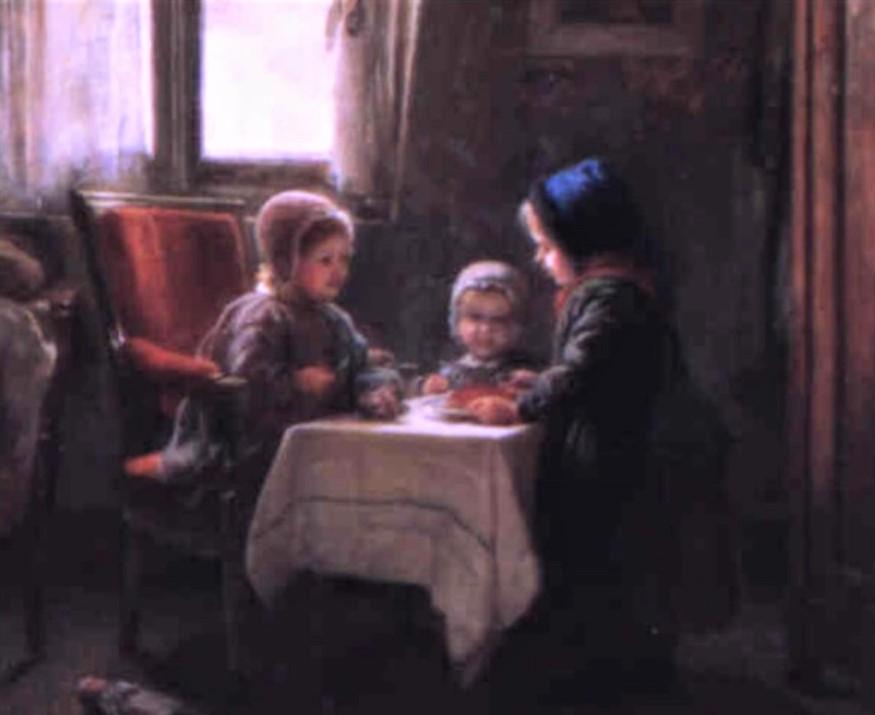Adolphe-Félix Cals, S1859-476, Le goûter. Uncertain: 1859, La donette (?), 45x55, A1995/02/16 (iR13;iR1)