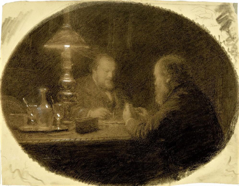 Adolphe-Félix Cals, S1864-2070, La partie de dominos, dessin. Maybe: 1864, Two Friends Around a Table, dr, 33x43, MFA Houston (iR6; iR8;iR35;iR1)