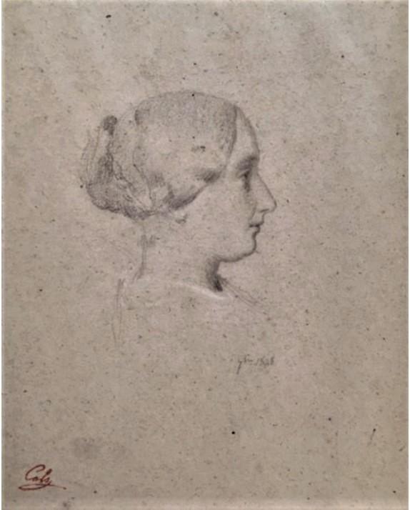 Adolphe-Félix Cals, S1864-2071, Portrait de Mlle C..., dessin. Compare: 1848, portrait de femme de profil, dr, xx, Axx (iR44;iR10;iR1)