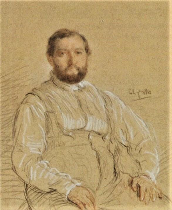 Adolphe-Félix Cals, S1865-2345, Portrait de M. P..., dessin. Uncertain: 1862 (or:1842), Portrait d'homme, dr, 33x26, A2004/03/22 (iR13;iR1)