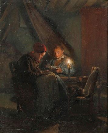 Adolphe-Félix Cals, S1865-363, La Veillée. Uncertain: 1861, La Veillée (the wake), 40x33, A2000/06/21 (iR2;iR13;iR1)
