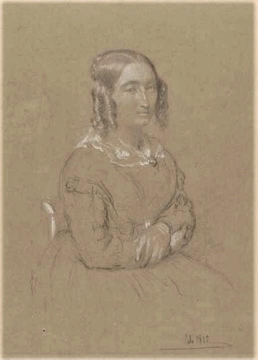 Adolphe-Félix Cals, S1866-2108, Portrait de Mlle A.-S. l'E..., dessin. Uncertain: 1865, portrait of a woman, dr, xx, xx (iR10;iR1)