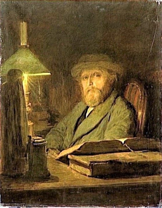 Adolphe-Félix Cals, S1866-306, Le soir, effect de lampe. Now: 1866, Self-portrait, 82x66, MNVT Versailles (iR99;iR23;iR10;iR96;iR1)