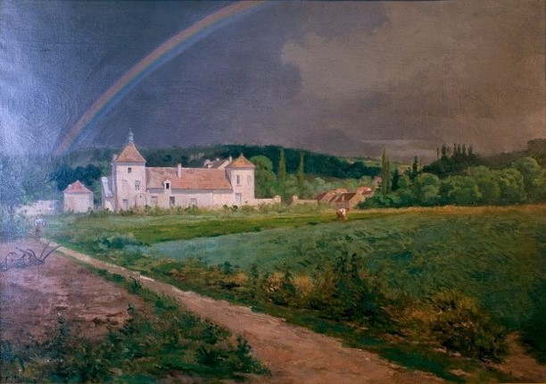 Edouard Béliard, 1860-76ca, Fortified Farmstead near Pontoise, 95x73, Axx