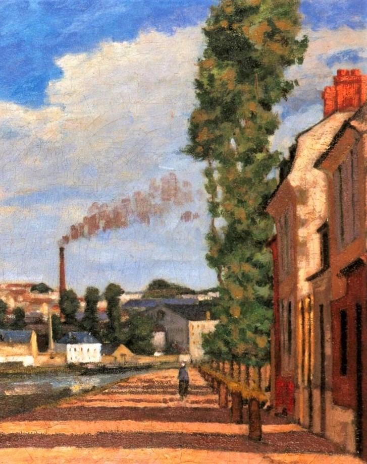 Edouard Béliard, 1872-75, Pontoise, view of the Lock (Quai d'Écluse; detail), 38x65, MCP Pontoise (iR2;iR6). Maybe (??): 2IE-1876-2, Fabriques au bord de l'Oise.