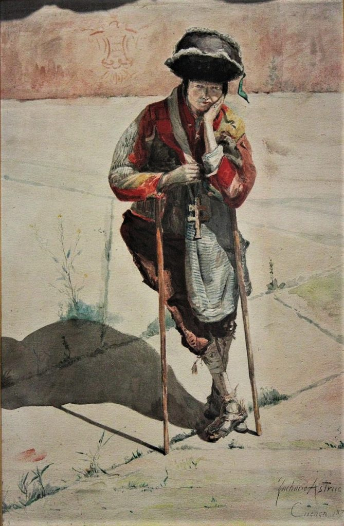 Zacharie Astruc, 1873, Scène de rue à Cuenca, wc, 57x80, MBA Pau (iR6;Mx) Compare: 1IE-1874-2, La Leçon du vieux torero (aquarelle).