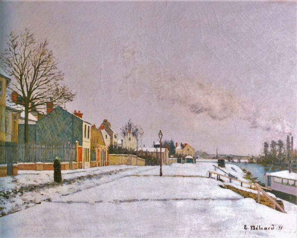 Edouard Béliard, 1875, Le Quai du Pothuis, effet de neige (Banks of the Oise), 74x94, MdÉtampes. Maybe: 2IE-1876-1, Bords de l'Oise.