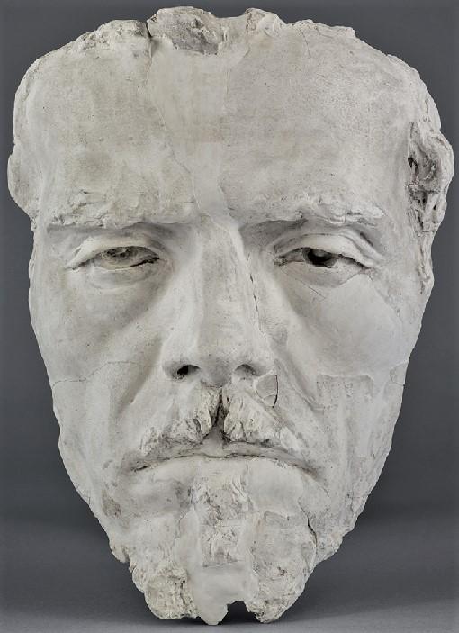 Zacharie Astruc, 1882, Masque de Delacroix, platre, xx, MdAngers (iR23;iR1) =SdAF-1882-4069-7, Le marchand de masques ; statue, plâtre; Delacroix.